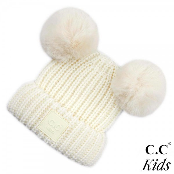C.C KIDS_81 Double faux fur pom beanie for kids  - 100% Acrylic - One size fits most
