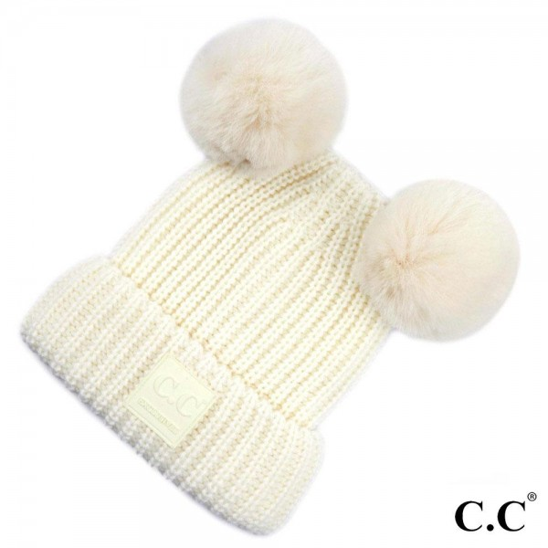 C.C HAT-81 Double faux fur pom beanie  - One size fits most - 100% Acrylic