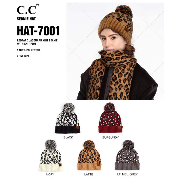 C.C HAT-7001  Leopard jacquard knit pom beanie  - 100% Polyester - One size fits most