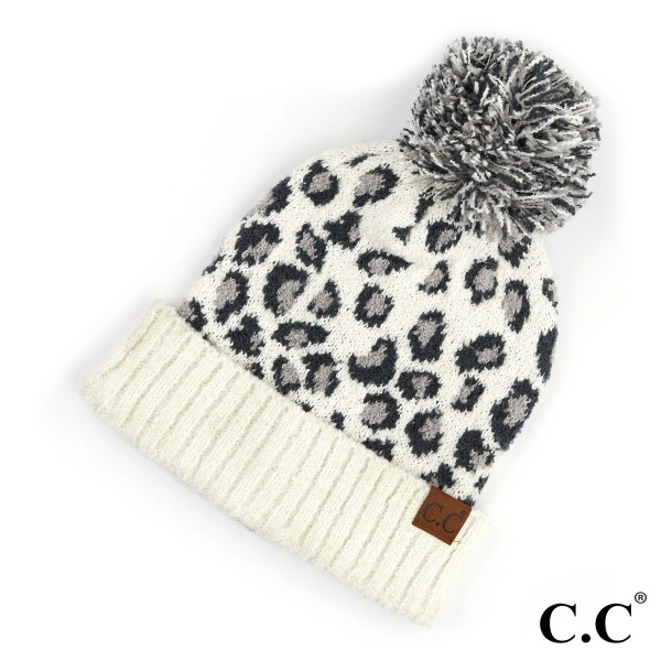 C.C HAT-7001  Leopard jacquard knit pom beanie  - 100% Polyester - One size fits most - Matches C.C HW-7001, SF-7001 and CG-7001