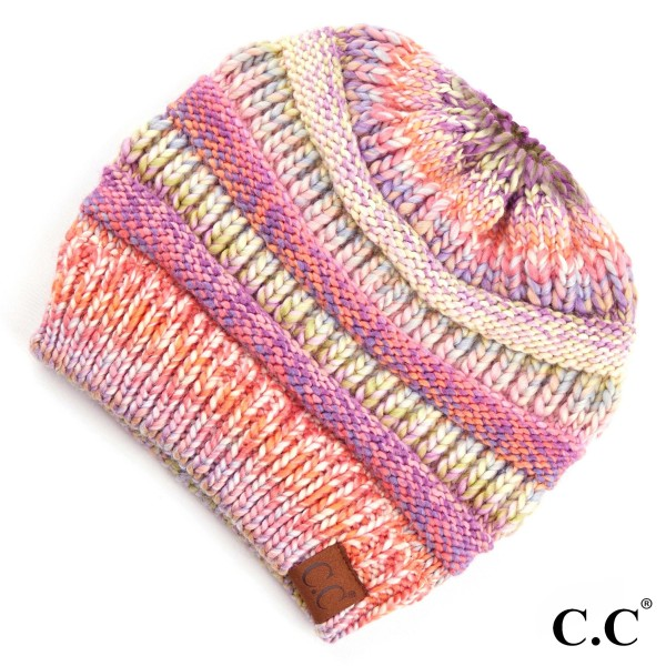 C.C MB-705 Multicolor messy bun beanie   - 100% Acrylic - One size fits most
