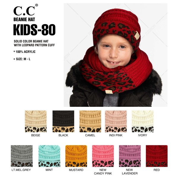 C.C KIDS-80 Solid color beanie with leopard print cuff  - 100% Acrylic - One size fits most - Matches C.C HAT-80, HW-80, MT-80-KIDS, G-80 and SF-80