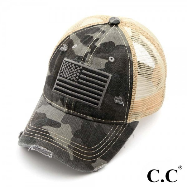 C.C BA-915  Camo USA flag distressed vintage baseball cap with mesh back  - One size fits most   - 70% Cotton 30% Polyester - Adjustable velcro closure - One size fits most