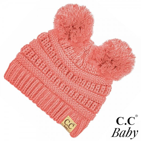 "C.C BABY-847 Solid knit baby beanie with pom pom  - 100% Acrylic - Band circumference is approximately:  9"" unstretched  16"" stretched - Approximately 6"" long from crown to band - Fit varies based on child's head height and shape"