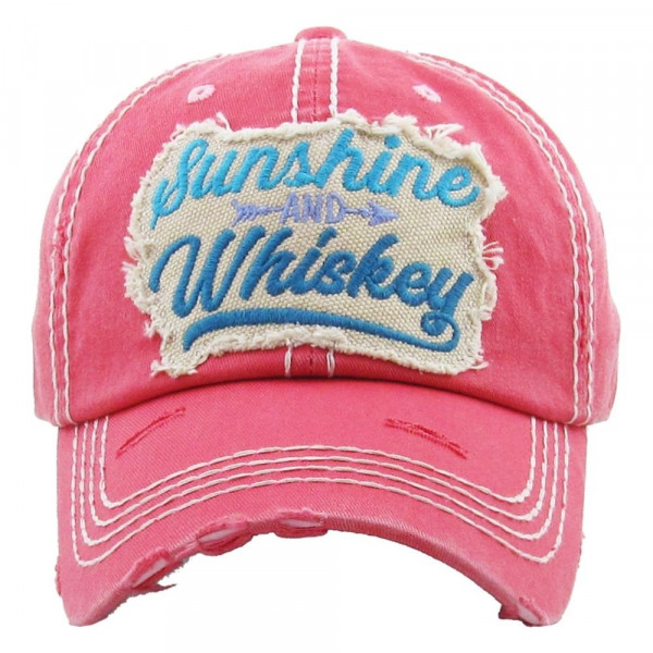 "Vintage, distressed baseball cap featuring ""Sunshine and Whiskey"" embroidered details.  - 100% Cotton - Adjustable velcro closure - One size fits most"
