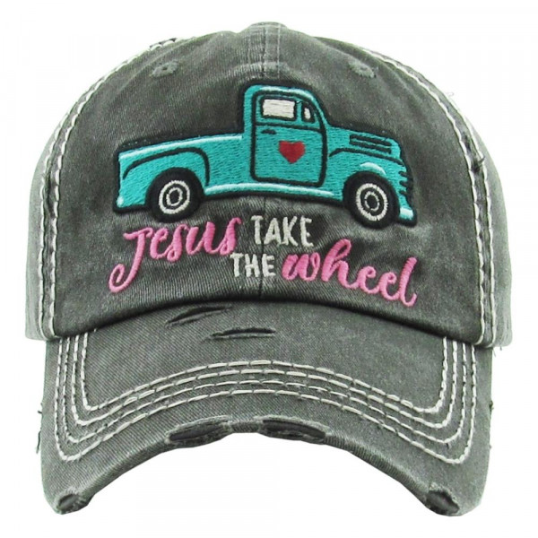 "Vintage, distressed baseball cap featuring ""Jesus Take The Wheel"" embroidered details.  - 100% Cotton - Adjustable velcro closure - One size fits most"