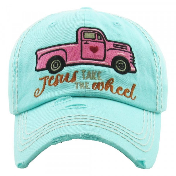 Wholesale vintage distressed baseball cap Jesus Take Wheel embroidered details C