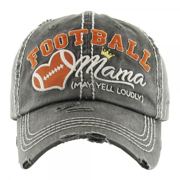 "Vintage, distressed baseball cap featuring ""Football Mama *May Yell Loudly"" embroidered detail.  - One size fits most  - Adjustable velcro closure - 100% Cotton"