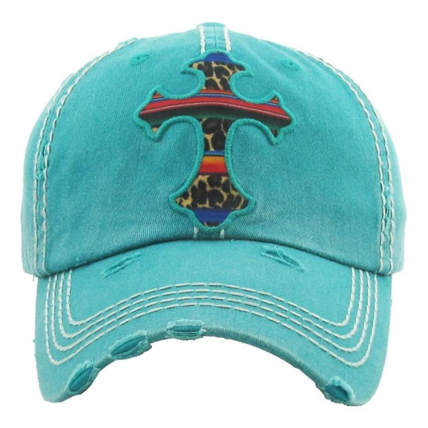 Vintage, distressed baseball cap featuring a leopard print serape cross embroidered detail.  - One size fits most  - Adjustable velcro closure - 100% Cotton