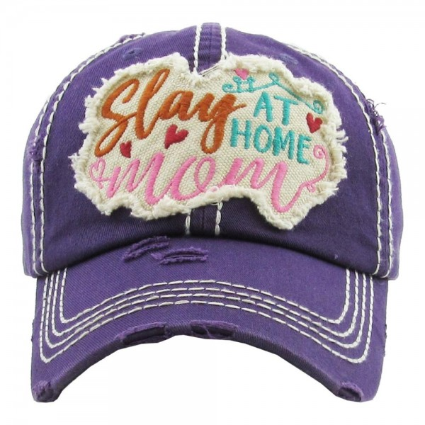 "Vintage, distressed baseball cap featuring ""Stay At Home Mom"" embroidered detail.  - One size fits most  - Adjustable velcro closure - 100% Cotton"