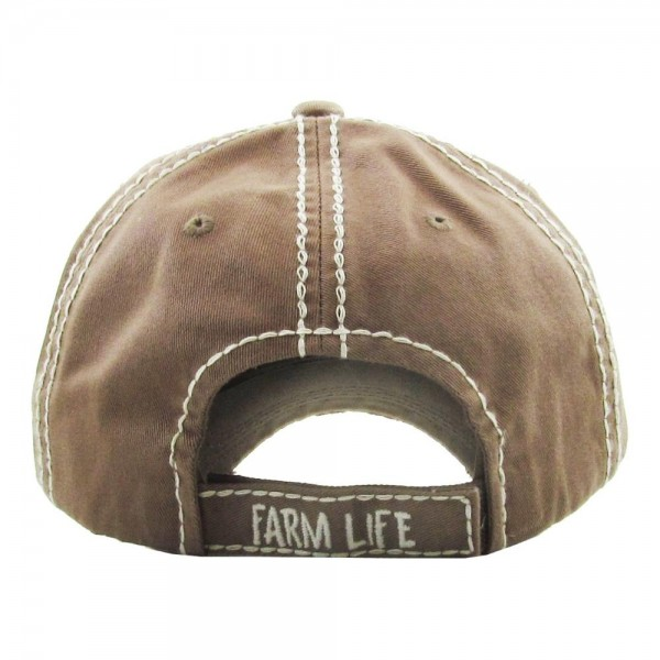 "Vintage, distressed baseball cap featuring ""Farm Life"" buffalo check pig embroidered detail.  - One size fits most  - Adjustable velcro closure - 100% Cotton"