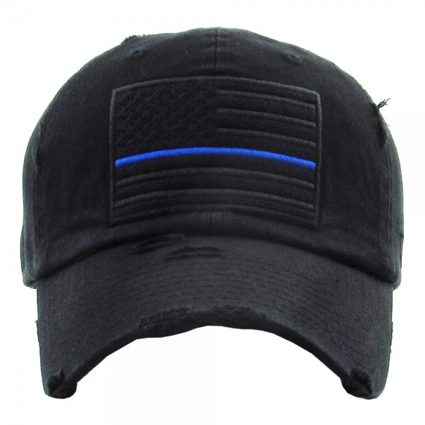 """Solid color USA Flag """"Thin Blue Line"""" embroidered vintage distressed baseball cap.  - One size fits most - Adjustable back strap - 100% Cotton"""