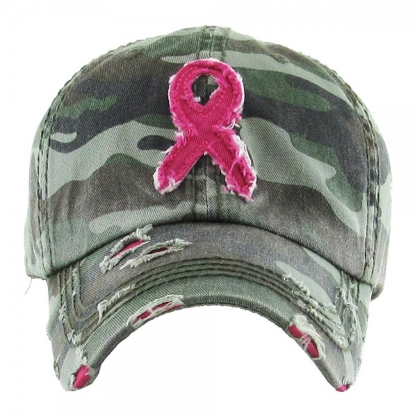 Vintage distressed breast cancer awareness embroidered baseball cap.  - One size fits most - Adjustable back strap - 100% Cotton