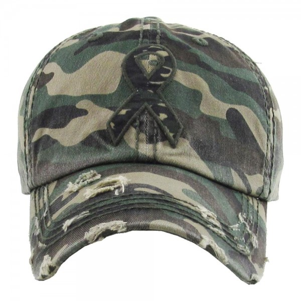 Vintage distressed baseball cap with camouflage breast cancer awareness embroidered details.   - One size fits most - Adjustable back strap - 100% Cotton