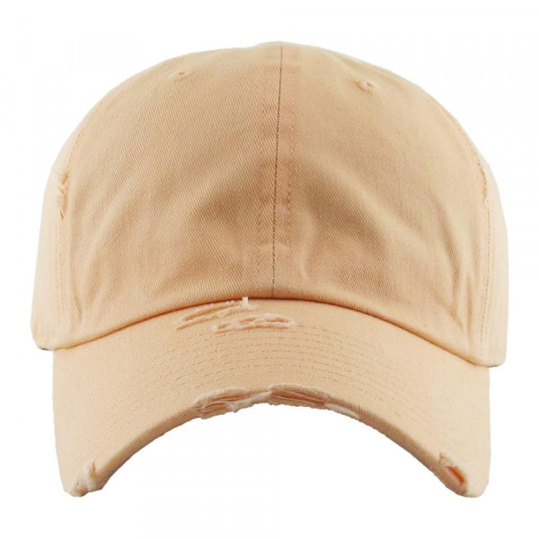 Solid color vintage distressed baseball cap.  - Monagramable - One size fits most - Adjustable back strap - 100% Cotton