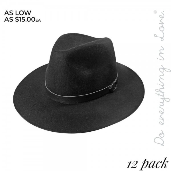 """Do everything in Love brand felt panama hat with faux leather band detail.  - Pack Breakdown: 12pcs / pack - One size fits most adults - Approximately 24"""" W x 26"""" L in outer diameter - Adjustable inside opening drawstring - 100% Wool"""