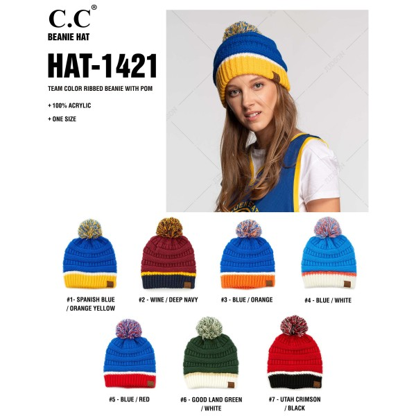 C.C HAT-1429 Team color ribbed knit pom beanie  - One size fits most  - 100% Acrylic
