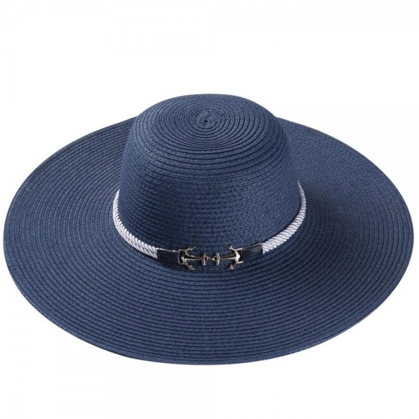 """Wide brim floppy sun hat with anchor rope band detail.  - One size fits most adults - Adjustable inside opening drawstring - 100% Paper Straw - Height approximately 4""""  - Brim Width 5""""  - Inside head circumference 16"""""""