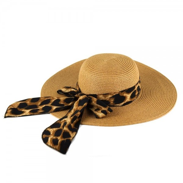 """Leopard print bow floppy summer hat.  - One size fits most adults - Adjustable inside opening drawstring - 100% Paper Straw - Height approximately 4.5""""  - Brim Width 4.5"""" - Inside head circumference 15"""""""