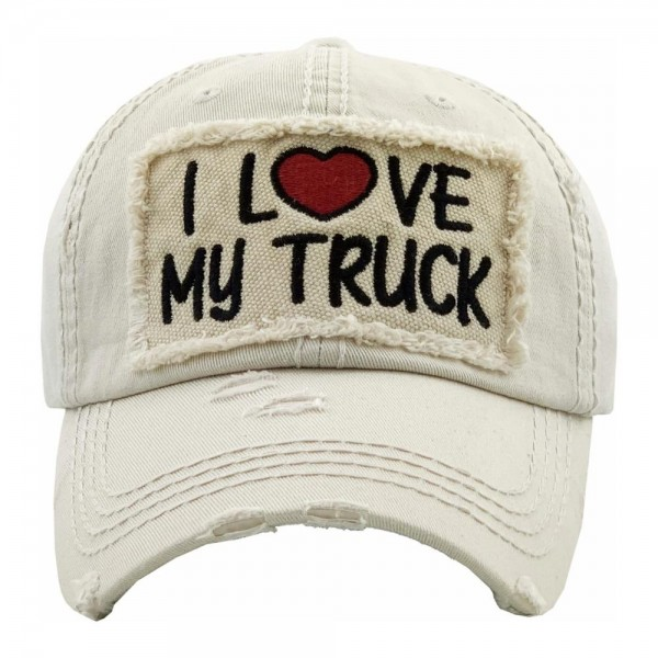 I LOVE MY TRUCK embroidered vintage distressed baseball cap.  - One size fits most - Adjustable velcro closure - 100% Cotton