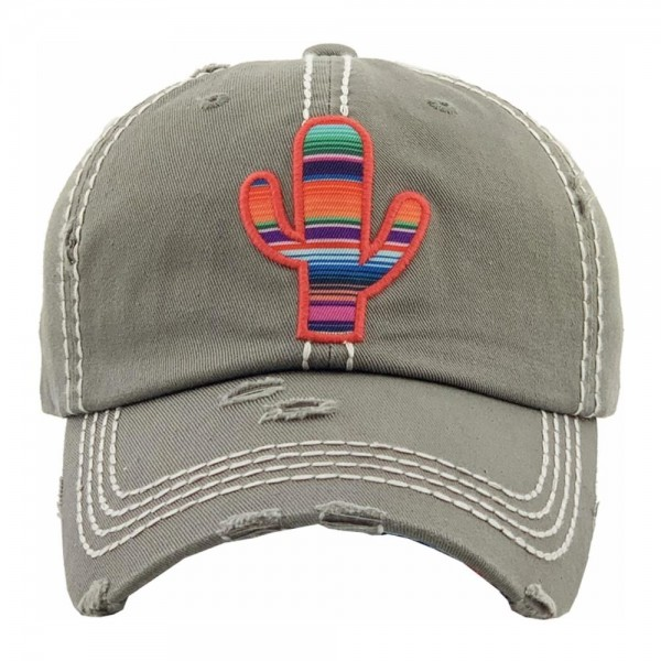 Serape cactus embroidered vintage distressed baseball cap.  - One size fits most - Adjustable velcro closure - 100% Cotton
