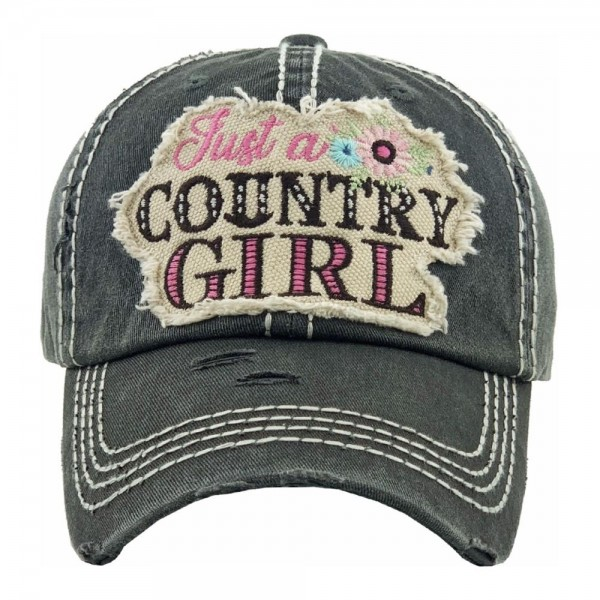 """Just a Country Girl"" floral embroidered vintage distressed baseball cap.  - One size fits most - Adjustable velcro closure - 100% Cotton"