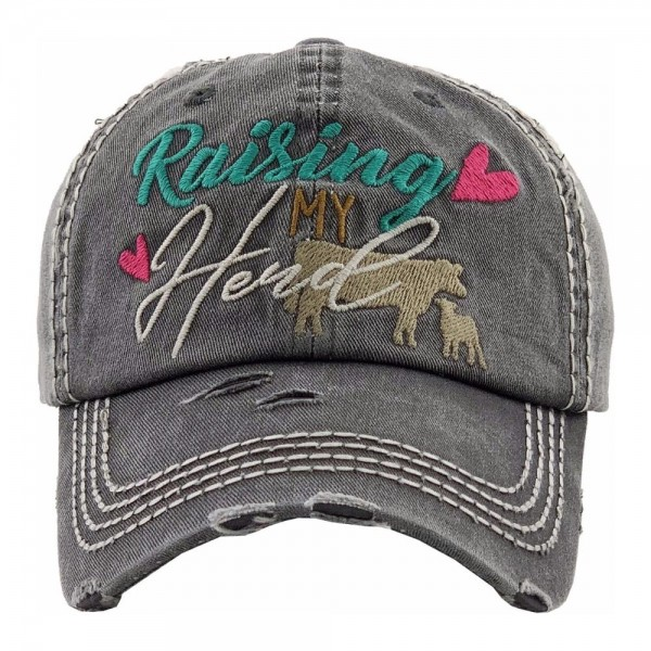 """""""Raising My Herd"""" embroidered vintage distressed baseball cap.  - One size fits most - Adjustable velcro closure - 100% Cotton"""