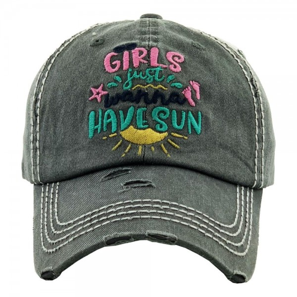 """""""Girls just wanna Have Sun"""" embroidered vintage distressed baseball cap.  - One size fits most  - Adjustable velcro closure - 100% Cotton"""