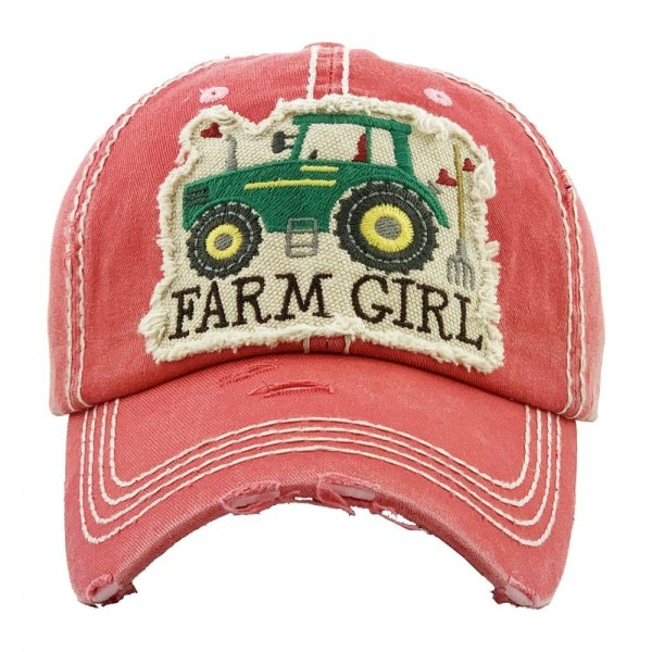 """""""Farm Girl"""" embroidered vintage distressed baseball cap.  - One size fits most  - Adjustable velcro closure - 100% Cotton"""