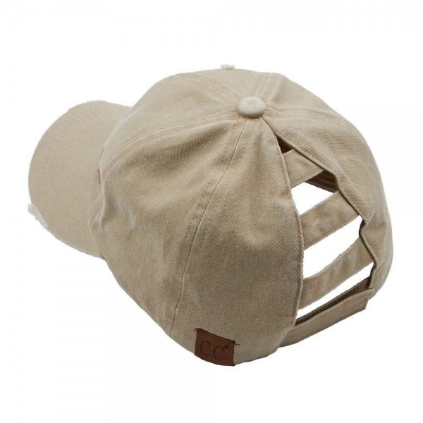 C.C BT-779 Distressed washed denim ladder ponytail cap.  - One size fits most - Adjustable velcro closure - 100% Cotton