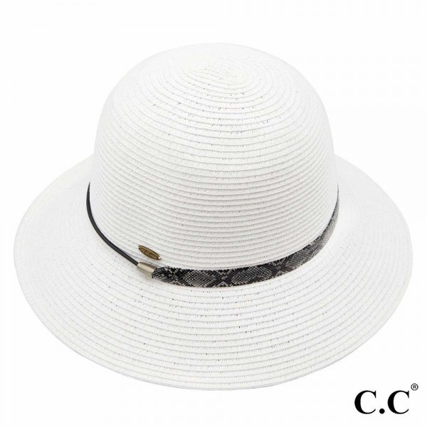 C.C ST-801 Sunhat with decorative snakeskin band  - 88% paper straw and 12% polyester. - UPF 50+ - One size fits most - Inside adjustable drawstring