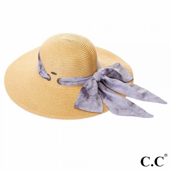 "C.C ST-2026 Paper straw wide brim hat with decorative pull through sash scarf   - UPF 50+ - One size fits most - Inside adjustable drawstring - Brim width 4"" - 100% Paper"