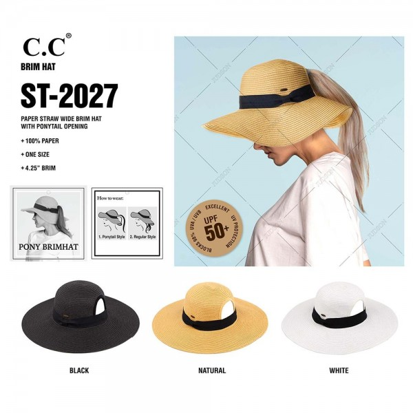"C.C ST-2027 Paper straw wide brim pony hat with ribbon  - Ponytail opening  - Brim approximately 4.5""  - Inside adjustable drawstring - One size fits most - 100% Paper"