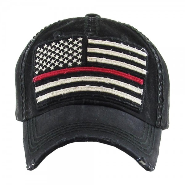 Faded distressed Thin Red Line American Flag embroidered baseball cap.  - One size fits most - Adjustable back strap - 100% Cotton