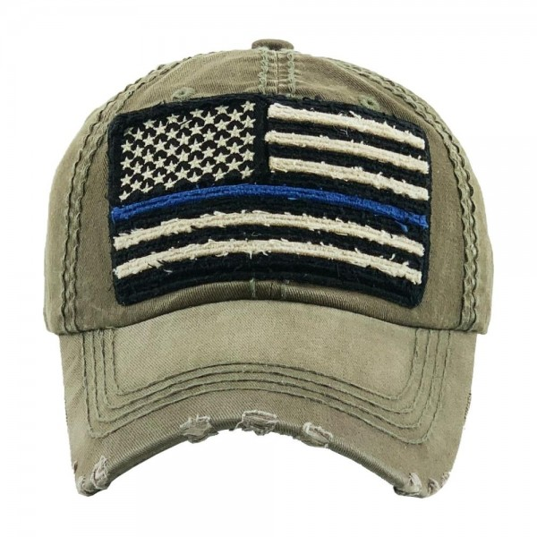 Faded distressed Thin Blue Line American Flag embroidered baseball cap.  - One size fits most - Adjustable back strap - 100% Cotton