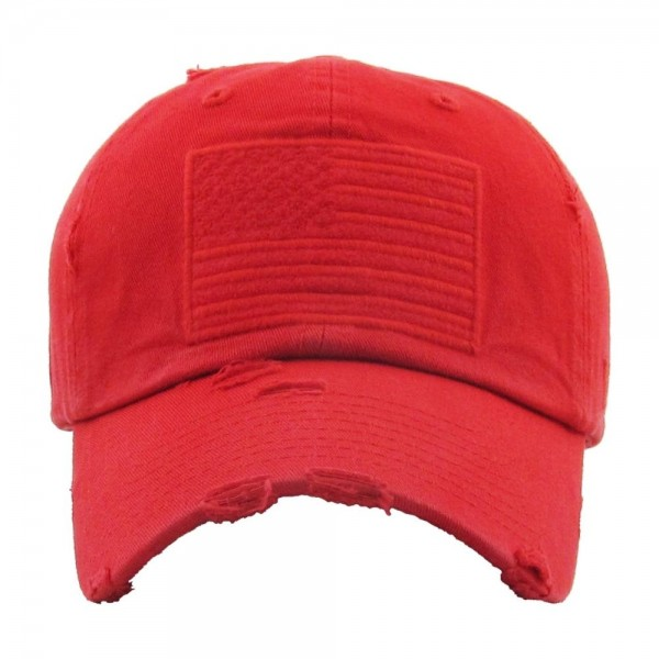 Distressed American Flag embroidered baseball cap.  - One size fits most - Adjustable back strap - 100% Cotton