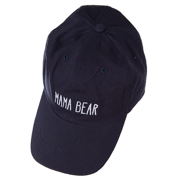 "Navy blue hat with a velcro adjustable back, embroidered with ""Mama Bear."""