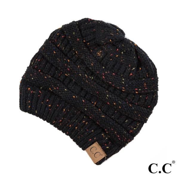 Wholesale cable knit confetti print C C beanie black acrylic