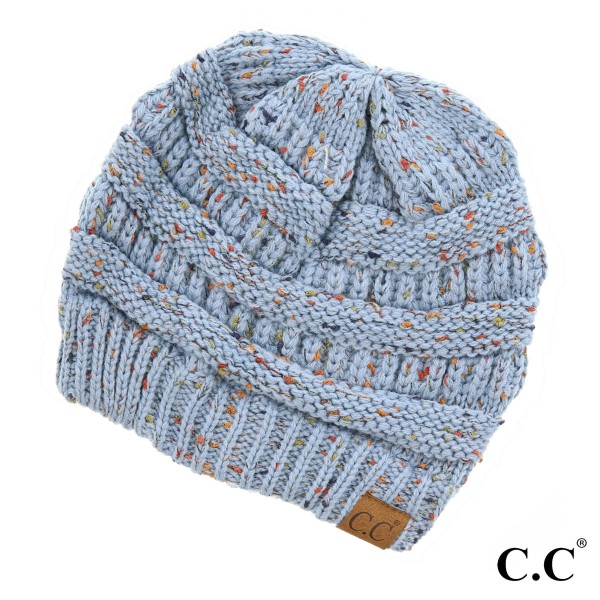 Wholesale cable knit confetti print C C beanie denim acrylic