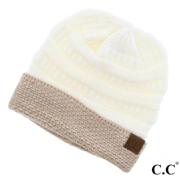 HAT-48: Boucle cuff C.C Beanie. 100% acrylic.