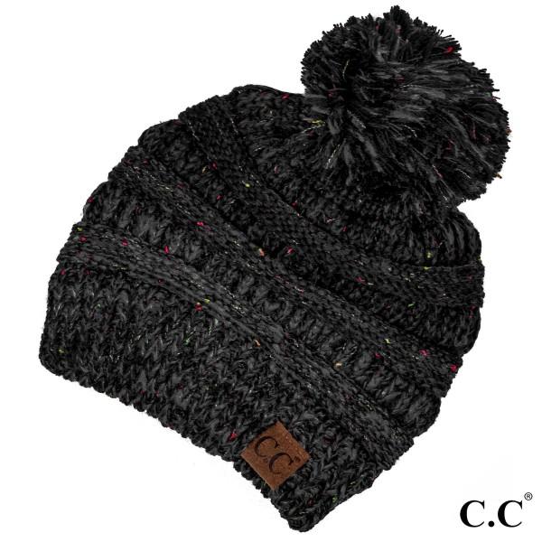 767b03987a7 Wholesale yJ POM Cable knit confetti print C C beanie pom pom acrylic