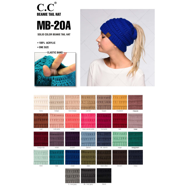 """C.C MB-20A  Solid color beanie tail hat """"The Original"""" messy bun beanie  - 100% Acrylic  - One size fits most - Matches: HAT-20A, G-20 and SF-800"""