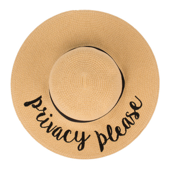"C.C ST-2017, wide-brim floppy beach hat featuring ""Privacy Please"". This hat is crushable/packable and able to hold it's shape. Brim measures 4"" in width and hat is 15.5"" in total diameter. UPF 50+  One size fits most.  Composition: 100% Paper."