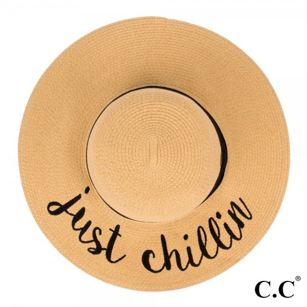 "C.C ST-2017, wide-brim floppy beach hat featuring ""Just Chillen"". This hat is crushable/packable and able to hold it's shape. Brim measures 4"" in width and hat is 15.5"" in total diameter. UPF 50+  One size fits most.  Composition: 100% Paper."