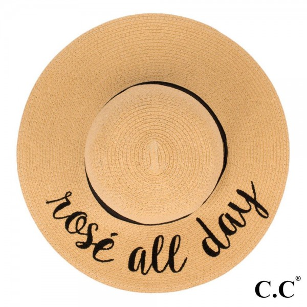 "C.C ST-2017, wide-brim floppy beach hat featuring ""Rose All Day"". This hat is crushable/packable and able to hold it's shape. Brim measures 4"" in width and hat is 15.5"" in total diameter. UPF 50+  One size fits most.  Composition: 100% Paper."