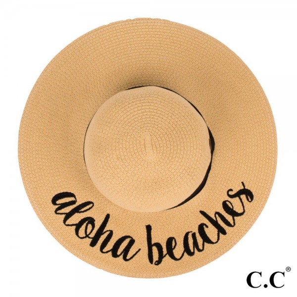 "C.C ST-2017, wide-brim floppy beach hat featuring ""Aloha Beaches"". This hat is crushable/packable and able to hold it's shape. Brim measures 4"" in width and hat is 15.5"" in total diameter. UPF 50+  One size fits most.  Composition: 100% Paper."