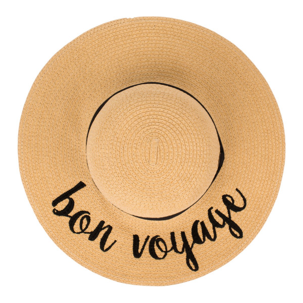 "C.C ST-2017, wide-brim floppy beach hat featuring ""Bon Voyage"". This hat is crushable/packable and able to hold it's shape. Brim measures 4"" in width and hat is 15.5"" in total diameter. UPF 50+  One size fits most.  Composition: 100% Paper."