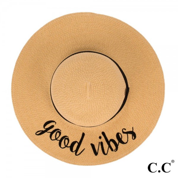 "C.C ST-2017, wide-brim floppy beach hat featuring ""Good Vibes"". This hat is crushable/packable and able to hold it's shape. Brim measures 4"" in width and hat is 15.5"" in total diameter. UPF 50+  One size fits most.  Composition: 100% Paper."