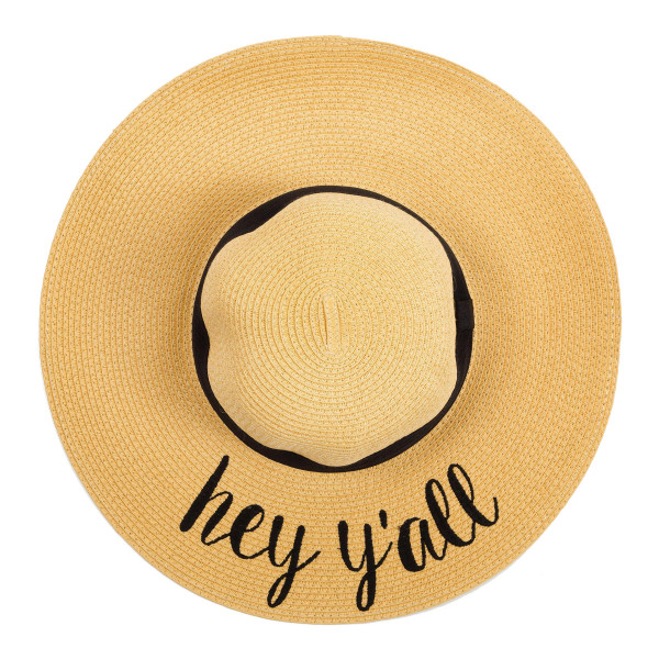 "C.C ST-2017, wide-brim floppy beach hat featuring ""Hey Y'all"". This hat is crushable/packable and able to hold it's shape. Brim measures 4"" in width and hat is 15.5"" in total diameter. UPF 50+  One size fits most.  Composition: 100% Paper."