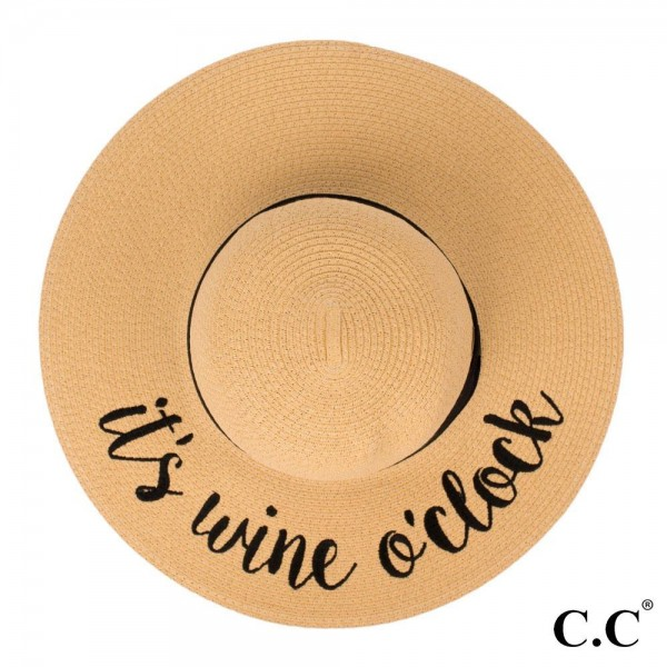 "C.C ST-2017, wide-brim floppy beach hat featuring ""It's Wine O'clock"". This hat is crushable/packable and able to hold it's shape. Brim measures 4"" in width and hat is 15.5"" in total diameter. UPF 50+  One size fits most.  Composition: 100% Paper."